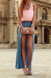 skirt,slit maxi skirt,maxi skirt,blue,grey,girly,summer,classy,blue skirt,love,high low,high low skirt,light blue,shoes,dress,blue maxi skirt,maxi dress,blouse,tank top,heels,ineed,cute,clutch,summer outfits,jewels,its so cute,long skirt,spring summer fashion,pink,vokuhila skirt,jeans,long,blonde hair,boho,pink top,cute top,chic,bag,top,t-shirt,watch,necklace,fashion,tumblr,cute dress,clothes,sandals,shirt,cropped,cut,outfit,perfecto,style,maxi,simple dress,casual