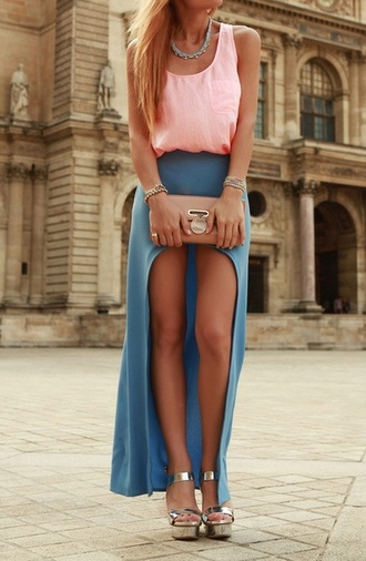 skirt slit maxi skirt blue grey maxi skirt long cropped blue skirt shoes tank top heels ineed cute clutch summer outfits jewels its so cute love high-low high low skirt light blue spring summer fashion dress bag top t-shirt watch necklace fashion tumblr girly cute dress clothes sandals blouse blonde hair long skirt boho pink top cute top chic