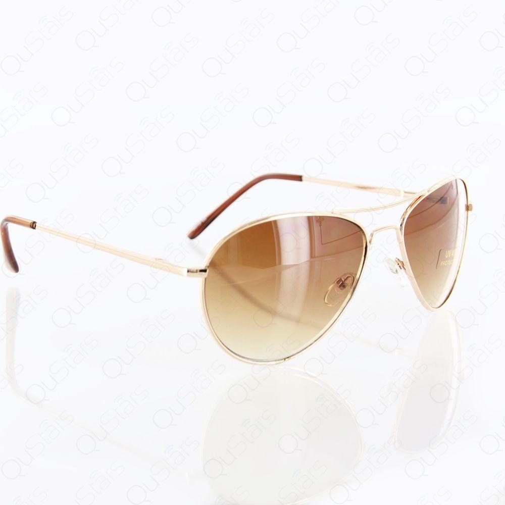 New Fashion Classic Aviator Style Metal Gold Frame Sunglasses UV400 Brown Lens   eBay