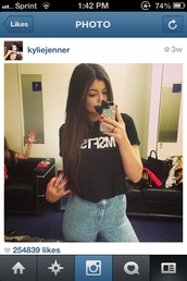 jeans,mstfsrep,kylie jenner,high waisted,spring,dope,high waisted jeans,shirt,blouse,msfts,black
