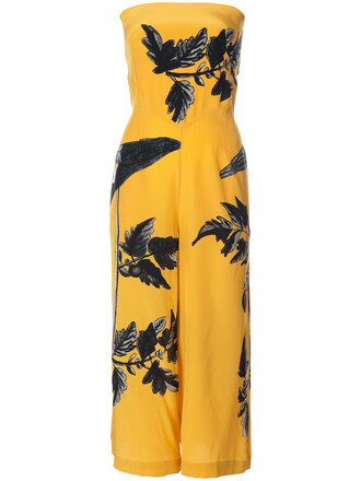 jumpsuit strapless women silk yellow orange