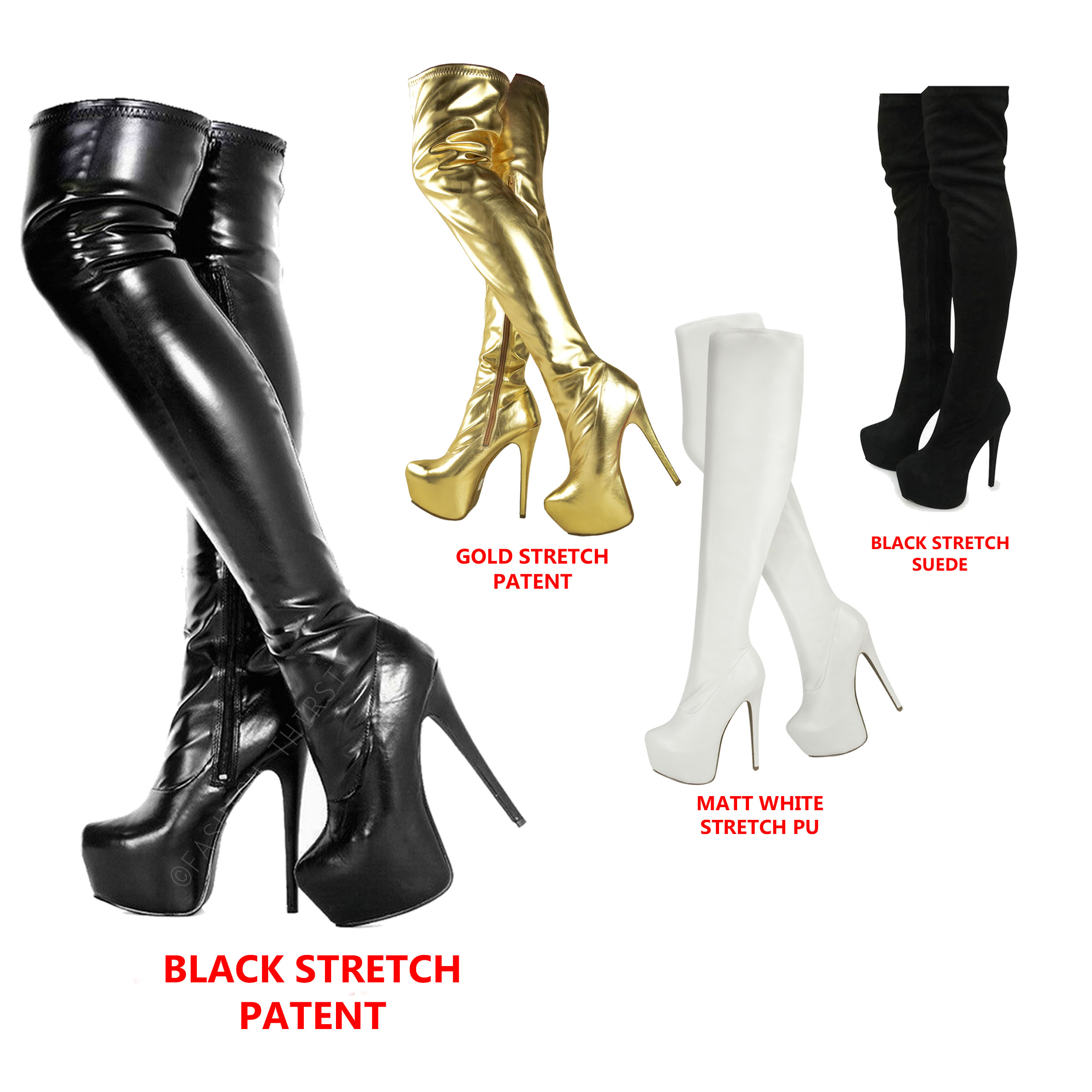 d92c793a86b ladies womens over knee thigh high heel stretch suede leather boots ...
