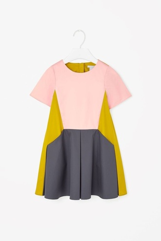 dress pink yellow gray colorblock dress