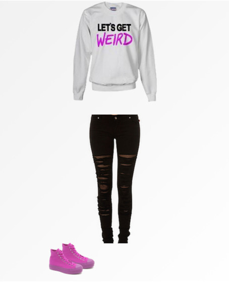 skinny jeans shirt sweatshirt let's get weird workaholics fishnet black skinny jeans black fishnets purple converse bright purple converse grey sweatshirt purple shirt