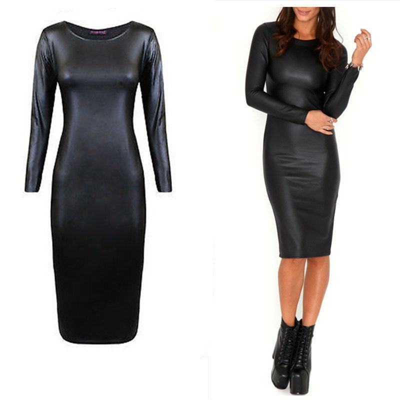 Sexy women dress leather look long sleeve crew neck