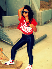 pants,high waisted leggings,haters,nike,red,shirt,shoes,black leggings
