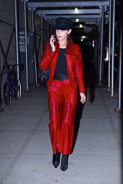 belt pants top hat model off-duty streetstyle fall outfits bella hadid