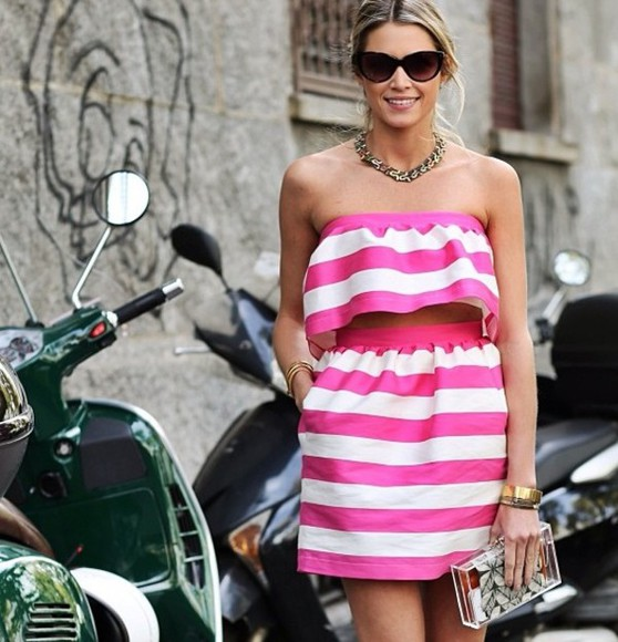 pink and white dress pink dress stripped shirt stripped top stripes two-piece dress two piece