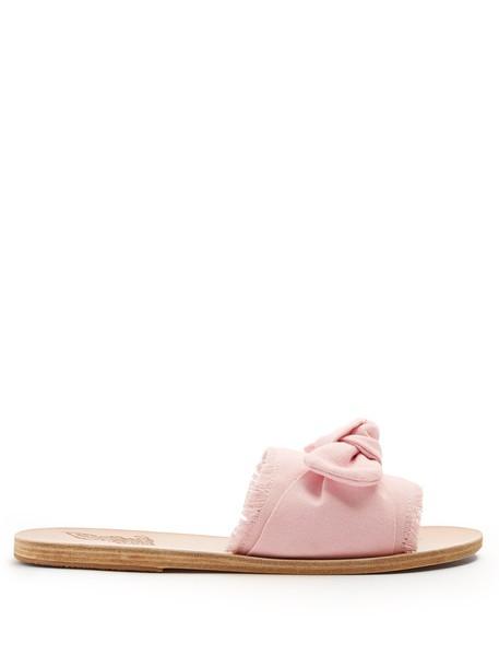 bow denim embellished embellished denim leather light pink light pink shoes