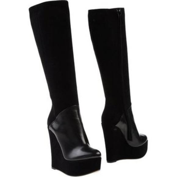 shoes leather black leather boots wedges black boots wedge boots