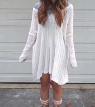 white loose fit sweater baggy sweaters