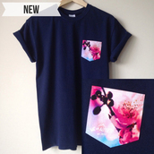 t-shirt,weareautumn,floral,cherry blossom,unisex,top,pockets,handmade,boyfriend tshirt,pocket t-shirt,floral pocket t-shirt