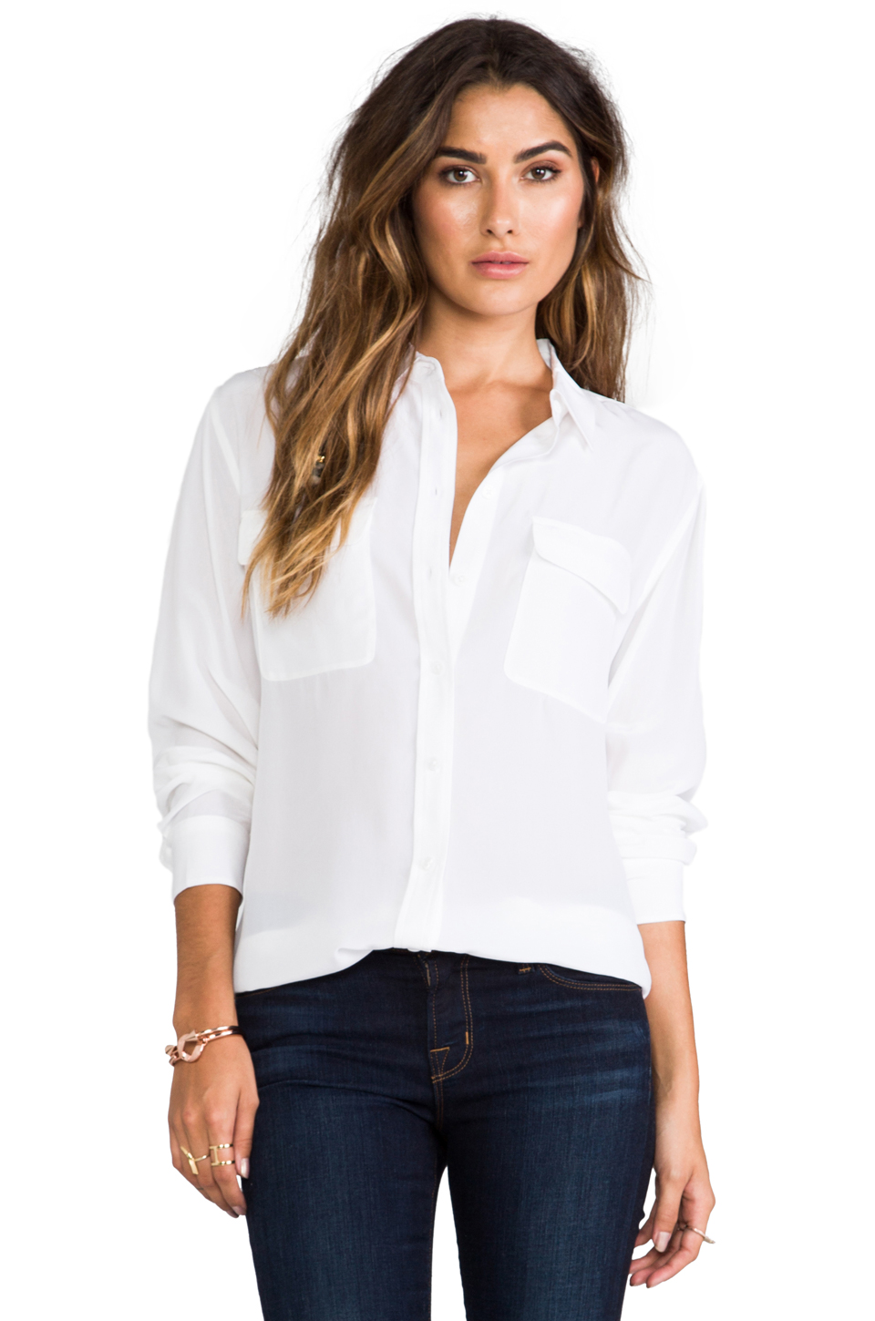 Equipment Signature Blouse in Bright White | REVOLVE