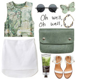 blouse,cute,oh well,green,shirt,skirt,shoes,chanel,bag,body,shop,eyes,butterfly,ineedthese