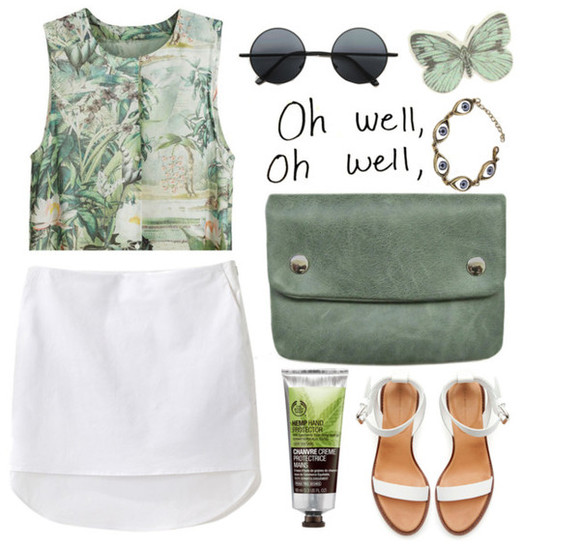 shirt skirt cute body shoes blouse oh well green chanel bag shop eyes butterfly ineedthese