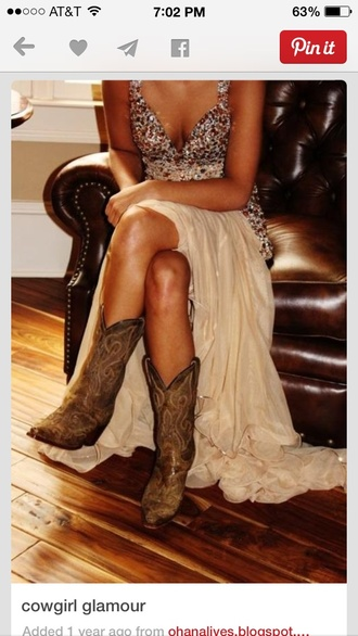 prom dress with cowboy  boots blouse