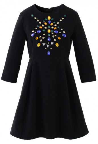 Crystal Jewels Embellished Wool Felt Dress in Black - Retro, Indie and Unique Fashion