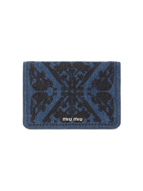 Miu Miu denim embroidered women bag clutch cotton black