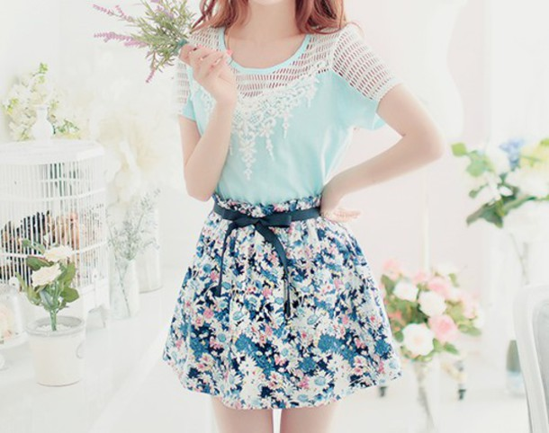 skirt summer outfits spring floral blue pastel cute fashion love