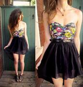 dress,flowers,print,black,clothes,colorful dress,floral dress,bustier,bustier dress,found on pinterest,pinterest,pretty