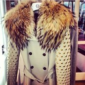 coat,fur,studs,winter coat,pea coat,belt,buttons,faux fur coat,beige