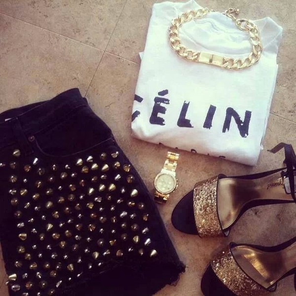 shorts black black shorts nieten jewels t-shirt shoes