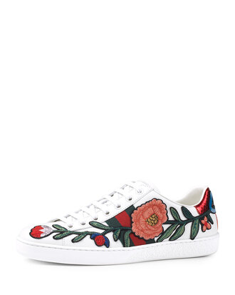 shoes gucci designer white sneakers sneakers floral flowers