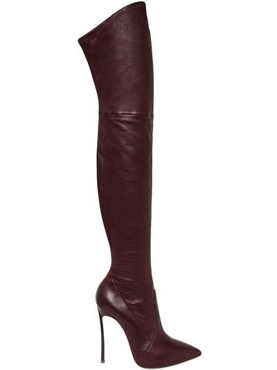 CASADEI, 120mm blade stretch leather boots, Bordeaux, Luisaviaroma