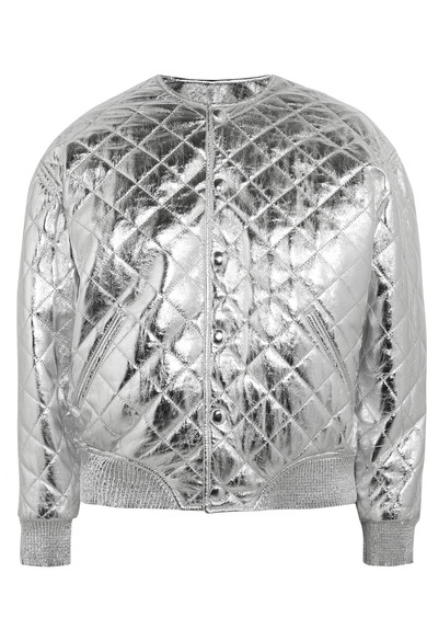 46bab90d279 Saint Laurent - Quilted metallic leather bomber jacket