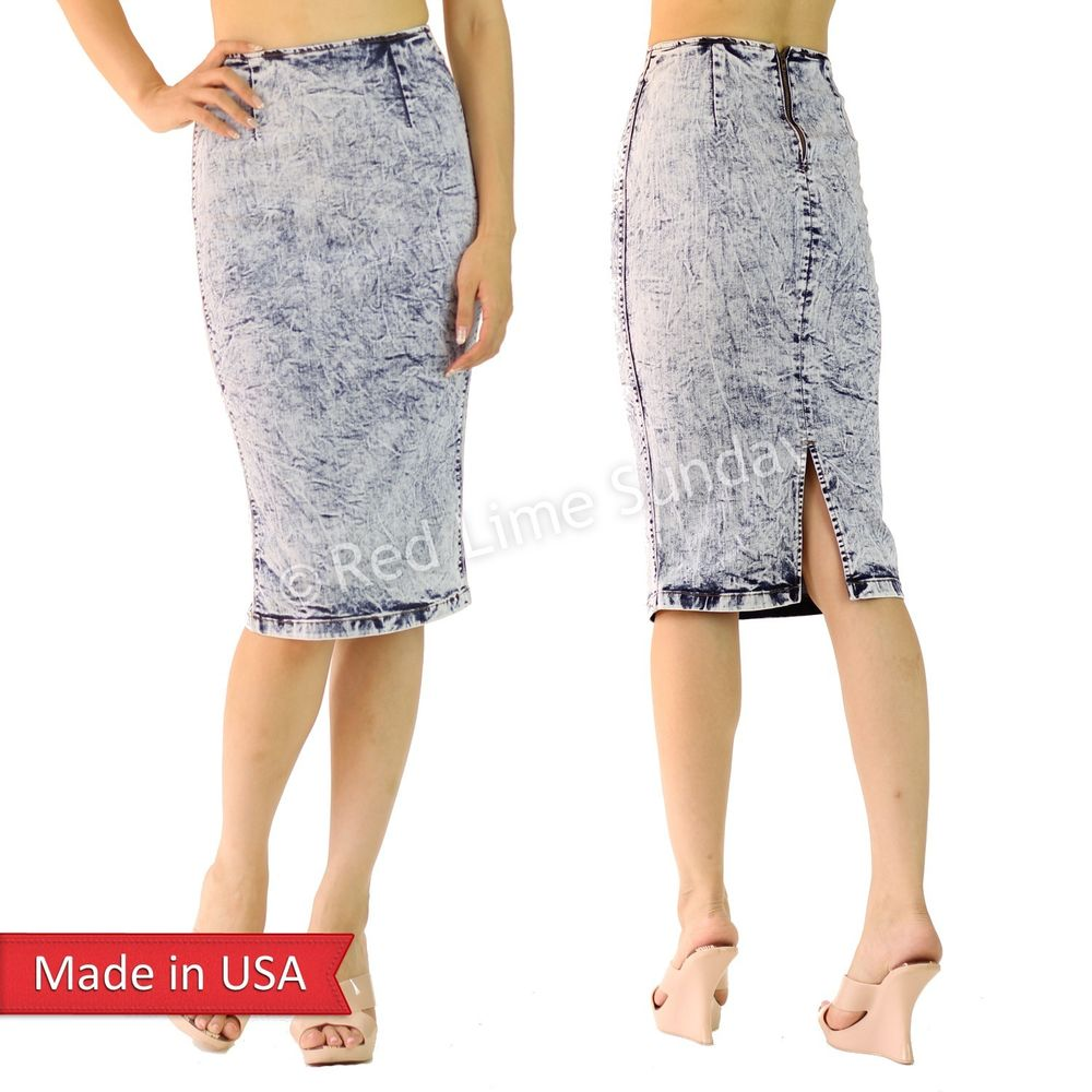 New Light Blue Acid Wash Denim Cotton Below Knee Pencil Skirt w/ Slit Zipper USA