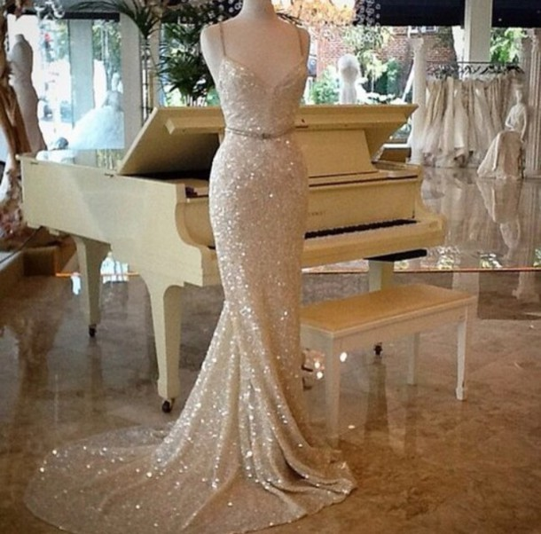 dress, wedding dress, prom dress, sparkly dress, champagne dress ...