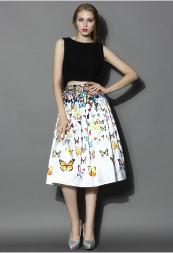 Dreamy Butterfly Pleated Midi Skirt in White - Retro, Indie and Unique Fashion