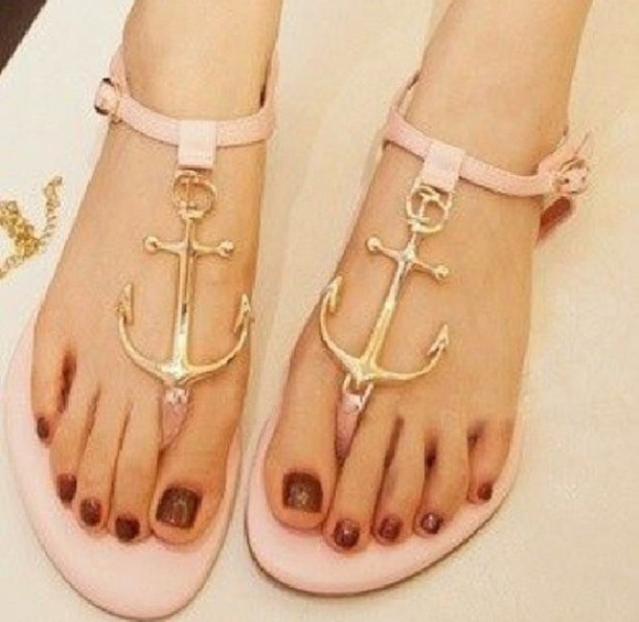 shoes sandals flats nude sandals flat sandals anchor nautical cute sandals thong sandals