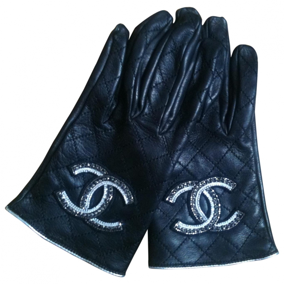 Gloves CHANEL Black size 8.5 inches in Leather Autumn / Winter - 799134