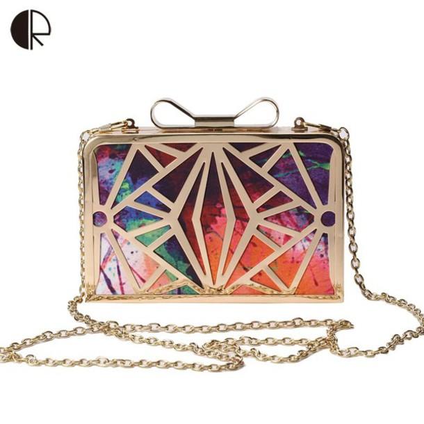 bag multicolor clutch gold metallic clutch envelope clutch patchwork gold platfom