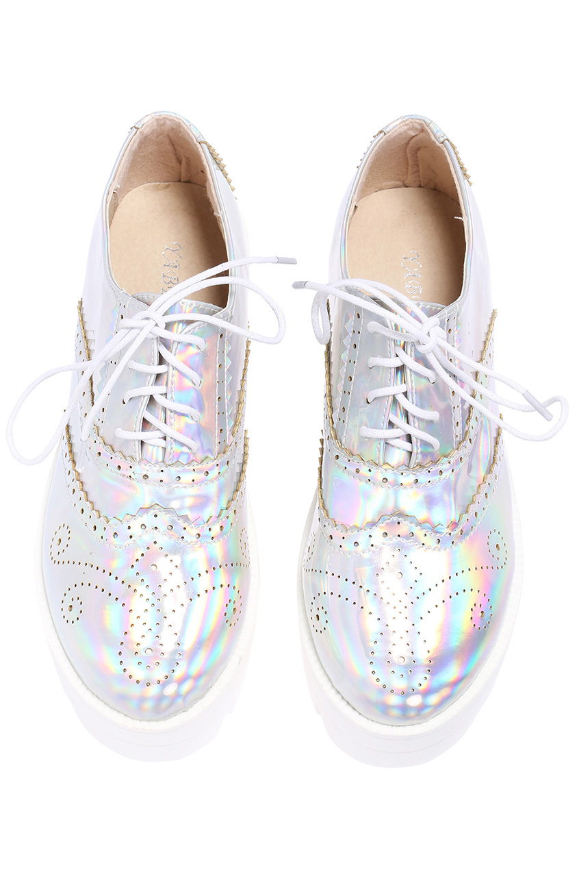Romwe retro floral hollow silvery shoes