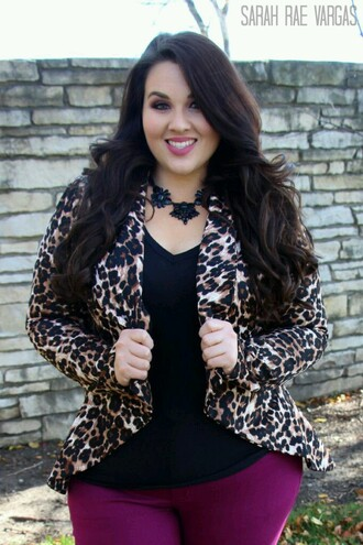 jacket leopard print blazer cute curvy