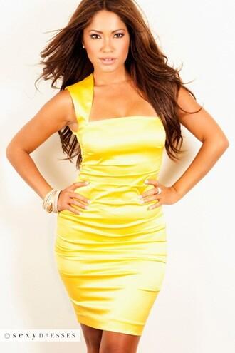dress yellow bodycon dress bodycon