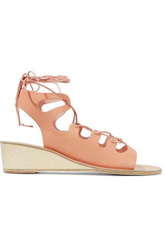 sandals wedge sandals lace leather blush shoes