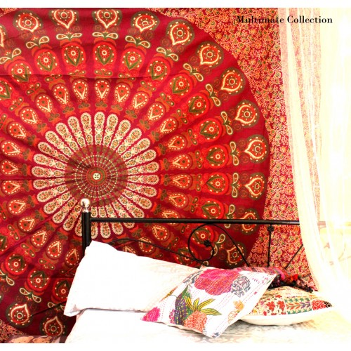 Red Mandala Wall Tapestry Bedspread
