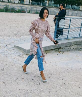 top blouse tunic dress tunic streetstyle paris fashion week 2016 jeans pumps lace top lace dress