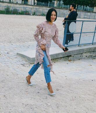 top blouse tunic dress tunic streetstyle paris fashion week 2016 jeans pumps lace top lace dress