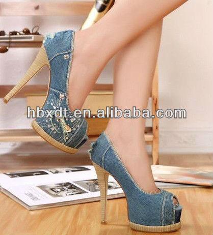 Ladies Blue Jean Shoes Peep Toe High Heel Shoes Denim - Buy Ladies ...
