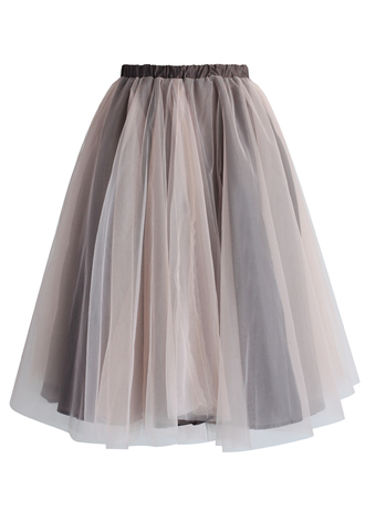 skirt chicwish tulle skirt taupe