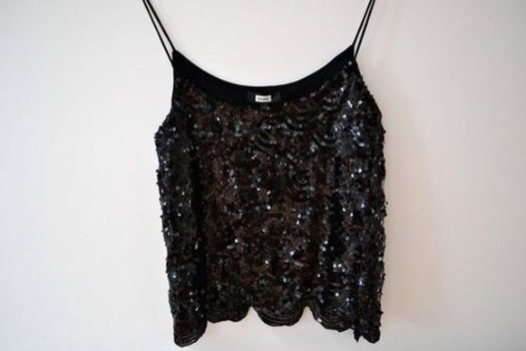 strass paillettes l shirt black gold