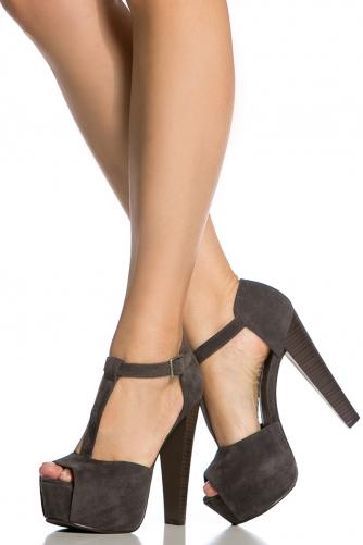 3627bfa7cd0 Grey Faux Suede Peep Toe Chunky Platform Heels @ Cicihot Heel Shoes online  store sales:Stiletto Heel Shoes,High Heel Pumps,Womens High Heel Shoes,Prom  ...