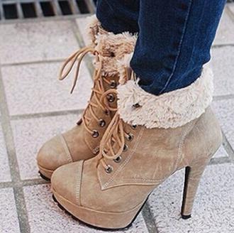 shoes beige shoes high heels winter boots shoes winter beige heels winter boots boots winter outfits warm bow heels beige beige boots