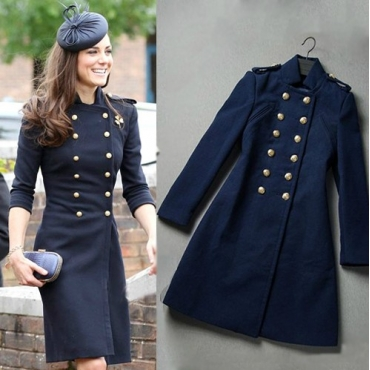 Trench Coat Dress Navy Blue Military Style - La Paix