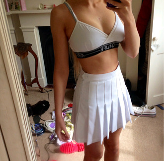 skirt white top bra black underwear g4life