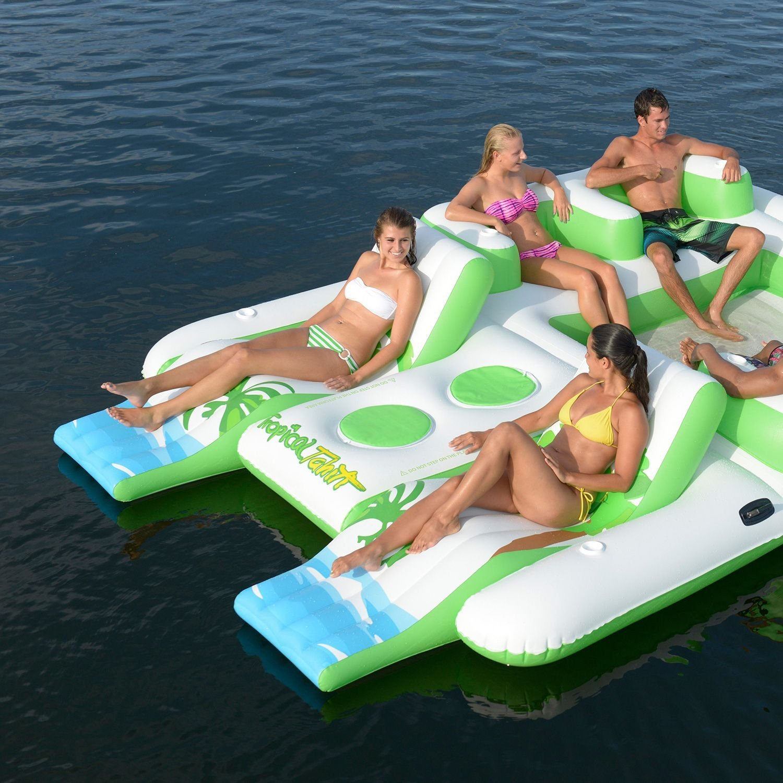 inflatable 6 person pool raft floating island. Black Bedroom Furniture Sets. Home Design Ideas